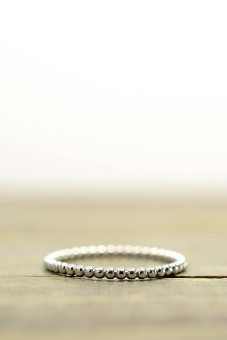 1.5mm beaded sterling silver stackable ring